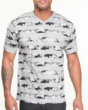 Men - Camo - Striped V - Neck Knit S/S Tee