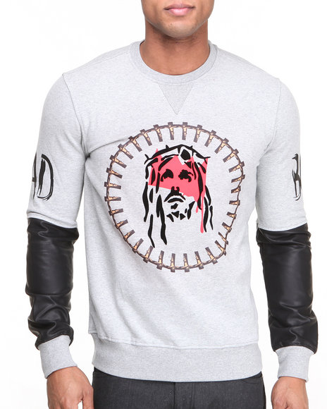 Bass By Ron Bass Grey J C Faux Leather Sleeve Crewneck Sweatshirt