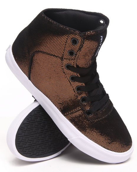 Supra - Women Black,Gold Cuttler Suede W/ Reflective Print Sneakers