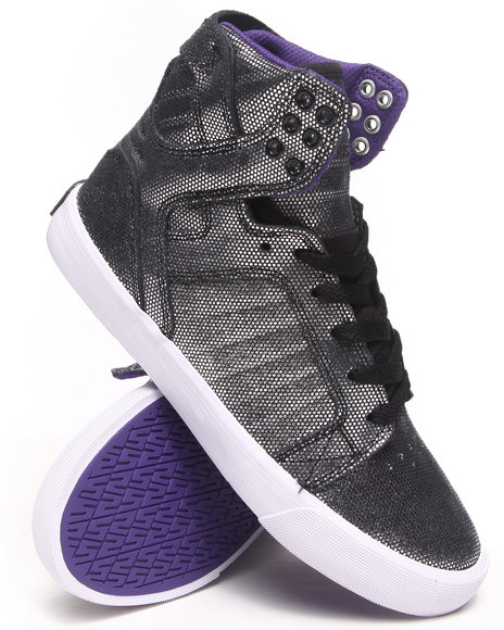 Supra - Women Black,Silver Skytop Suede W/ Reflective Print Sneakers