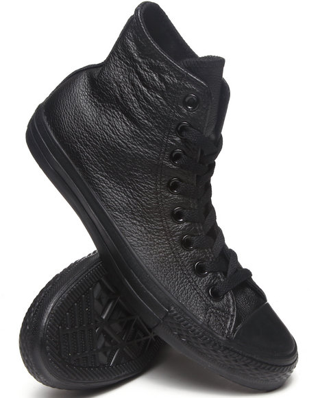 Converse - Men Black Chuck Taylor All Star Leather Hi Sneakers (Unisex)