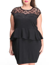 Apple Bottoms - Lace Studded Peplum Dress (Plus)