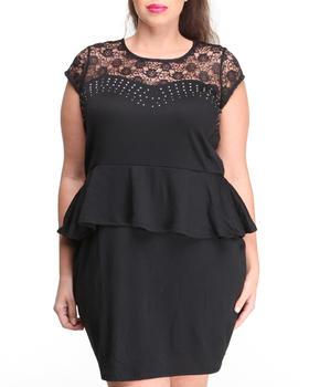 Apple Bottoms - Lace Studded Peplum Dress (Plus)