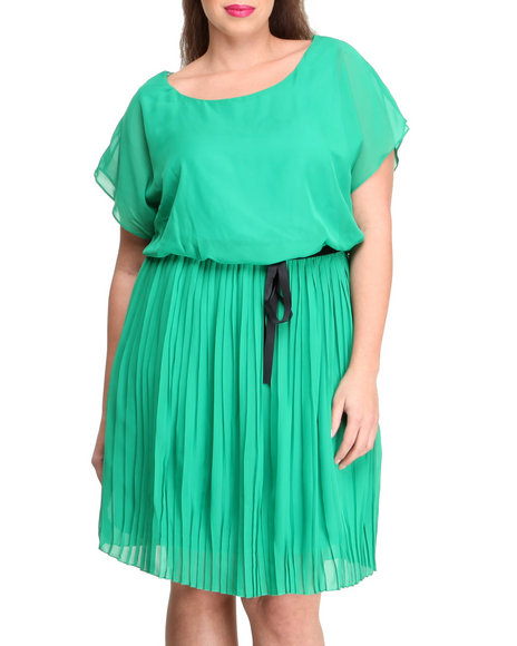 Paperdoll - Women Green Pleated Surplice Chiffon Dress (Plus)