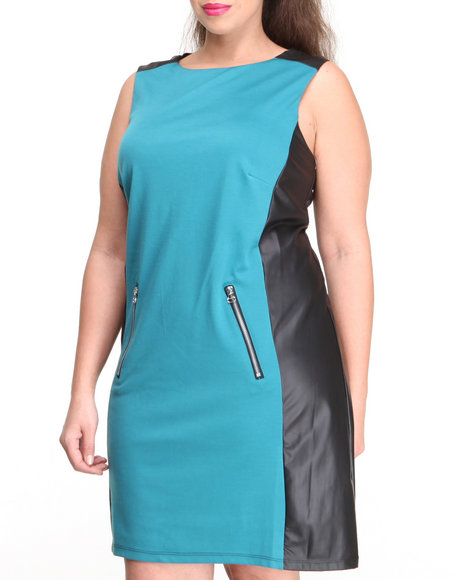Paperdoll - Women Black,Teal Vegan Leather Colorblock Ponte Mod Dress (Plus) - $13.99