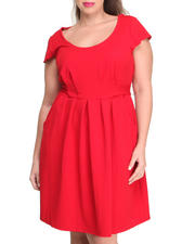 Plus Size - Cap Sleeve Pocketed Textured Knit Dress (Plus)
