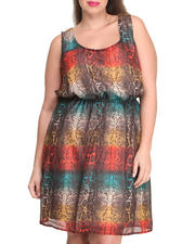 Plus Size - Snake Print Keyhole Back Chiffon Dress (Plus)