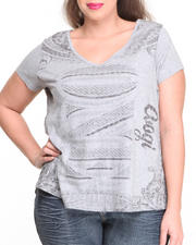 Women - Money Print V-Neck Top (Plus)