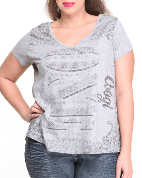 Coogi - Women Grey Money Print V-Neck Top (Plus)