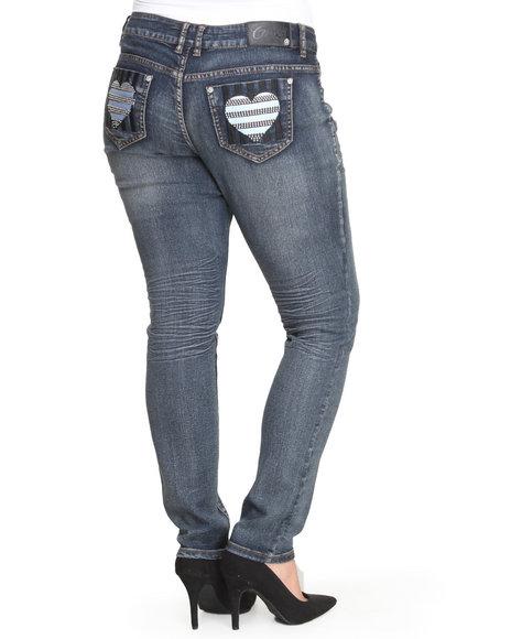 COOGI Light Wash Heart Back Jem Pocket Jeans (Plus Size)