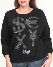 Sweaters - 3/4 Sleeve Pullover w/ Money Sign Wording (Plus)
