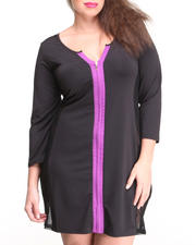 Women - Colorblock Fitted Dress w/ Mesh Sides (Plus)