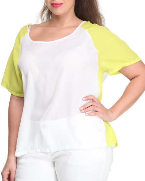 Ali & Kris - Women Lime Green,White Colorblock 3/4 Sleeves Chiffon Top (Plus) - $10.99