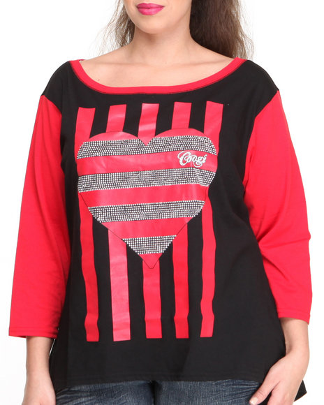 COOGI - Women Black Contrast Sleeve Top W/ Striped Heart (Plus)