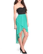 Dresses - Strapless Bodycon Chiffon Hi-Low Hem Dress