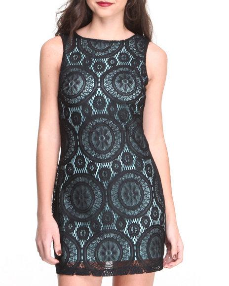 Paperdoll Black Lace Overlay Sheath