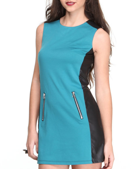 Paperdoll Black,Teal Vegan Leather Colorblock Ponte Mod Dress
