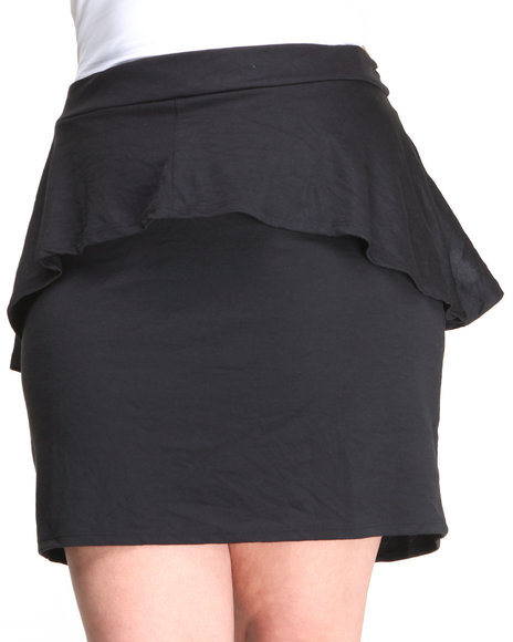 Apple Bottoms - Women Black Peplum Skirt (Plus) - $11.99