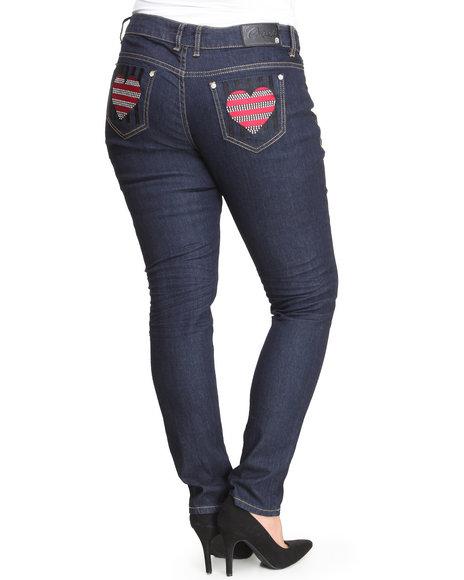 COOGI Black Heart Back Jem Pocket Jeans (Plus Size)