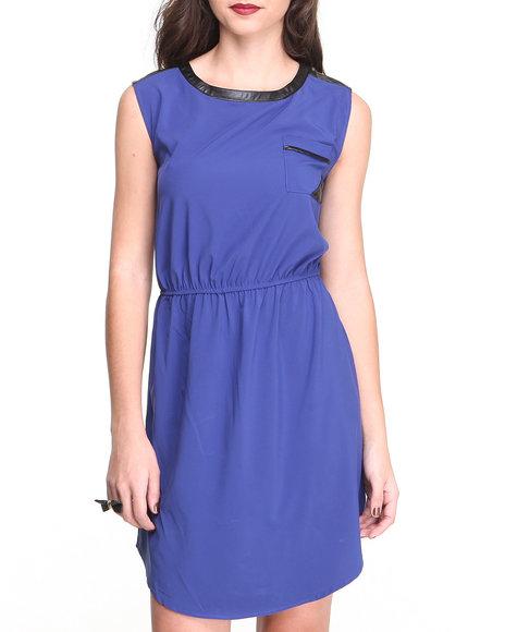 Paperdoll Blue Vegan Leather Trim Georgette Dress