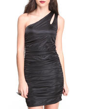 Women - Ruched 1  Shoulder Silky Knit Dress