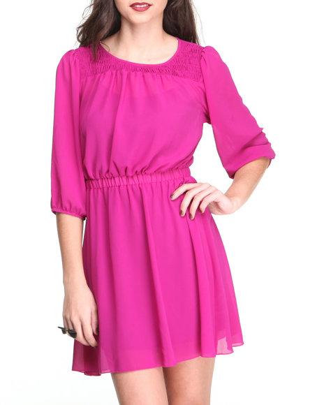 Paperdoll Pink Smoked Neckline Chiffon L/S Dress