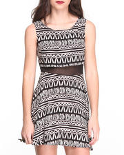 Women - Aztec Print  Zip Back Sheer Insert Dress