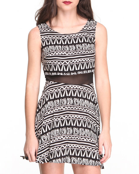 Paperdoll - Women Black Aztec Print  Zip Back Sheer Insert Dress - $12.99