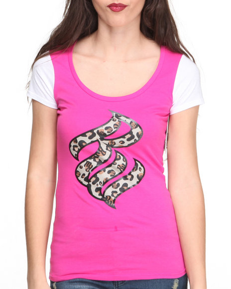 Rocawear Pink S/S Wild Logo Crewneck Tee