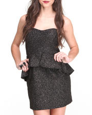 Women - Metallic Glitz Peplum Strapless Dress