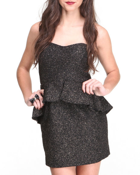 Paperdoll Black Metallic Glitz Peplum Strapless Dress