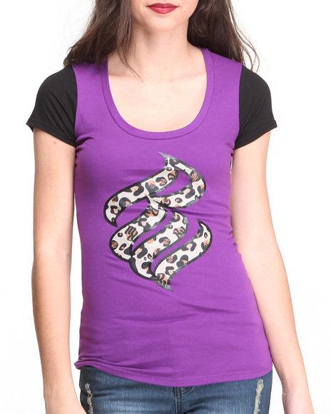Rocawear - Women Purple S/S Wild Logo Crewneck Tee