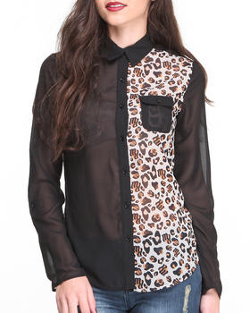 Rocawear - L/S Animal Colorblock Cotton Chiffon Shirt