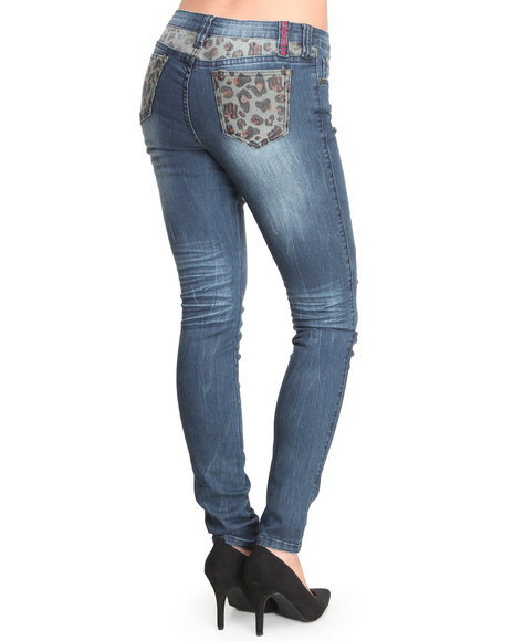 Rocawear - Women Animal Print Wild Safari Leopard Back Jeans
