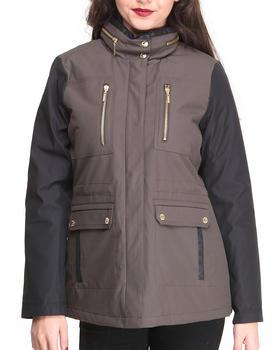 KENSIE - Contrast Sleeve Zip Trim Coat