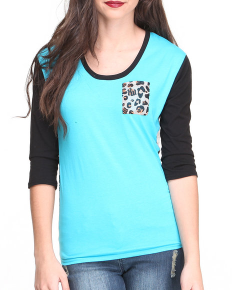 Rocawear Blue Leopard Pocket Jersy Chiffon Top