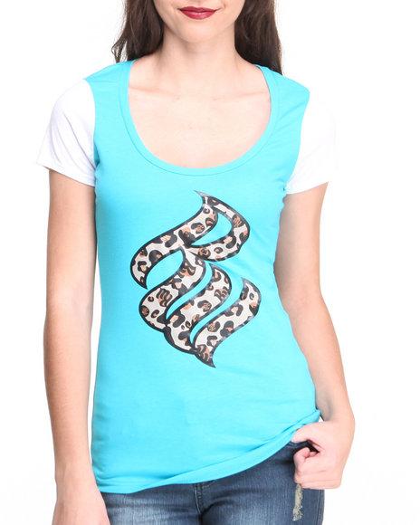 Rocawear - Women Blue S/S Wild Logo Crewneck Tee