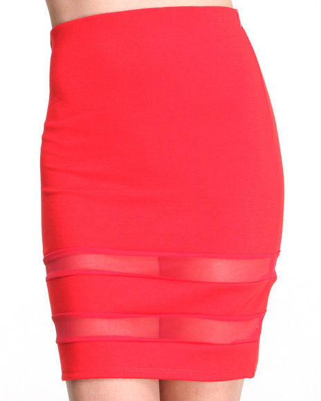 Basic Essentials - Women Red Style  Avant-Garde Skirt W/Mesh Detail