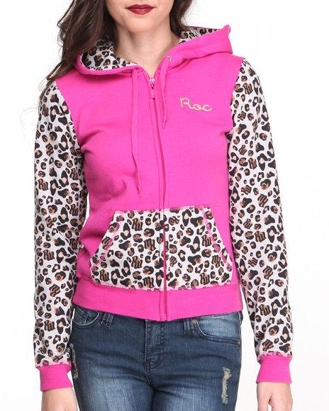 Rocawear Pink Untamed Zip Front Leopard Colorblock Hoody