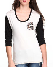Tops - Leopard Pocket Jersy Chiffon Top