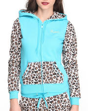 Women - Untamed Zip Front Leopard Colorblock Hoody