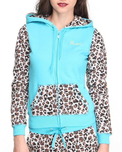Rocawear - Women Blue Untamed Zip Front Leopard Colorblock Hoody