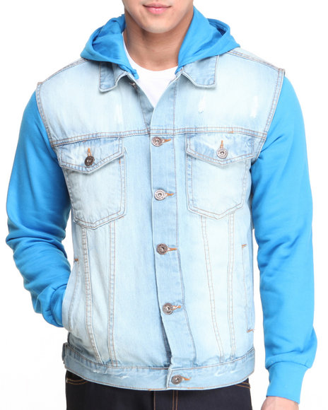 Basic Essentials - Men Blue Denim Vest Hoodie Jacket