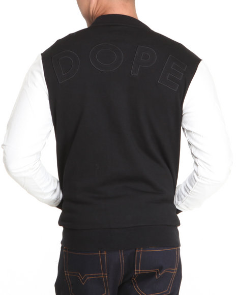 Dope - Men Black,White Classic Varsity Jacket W/Faux Leather Sleeves
