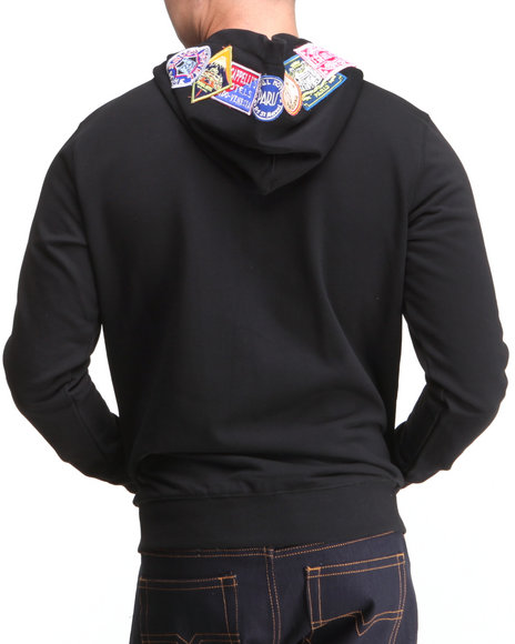 DOPE Black Eighty Days Zip-Up Hooded Sweatshirt W/Patches