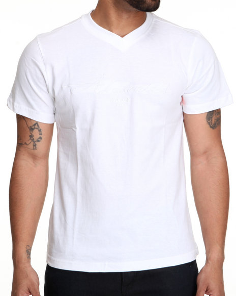 Akademiks - Men White Prep  V-Neck Tee - $8.99
