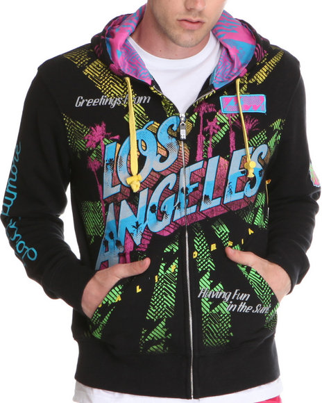 Djp Outlet - Men Multi Lord Baltimore City Of Angels Multi Print/Embroidery/Patch Zip Up Hoodie