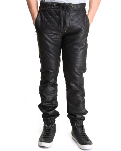 Kite Club Black Pu Diamond Leather Pants