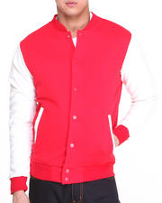 Outerwear - Classic Varsity Jacket w/faux leather sleeves