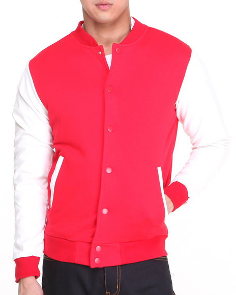 Dope - Men Red Classic Varsity Jacket W/Faux Leather Sleeves